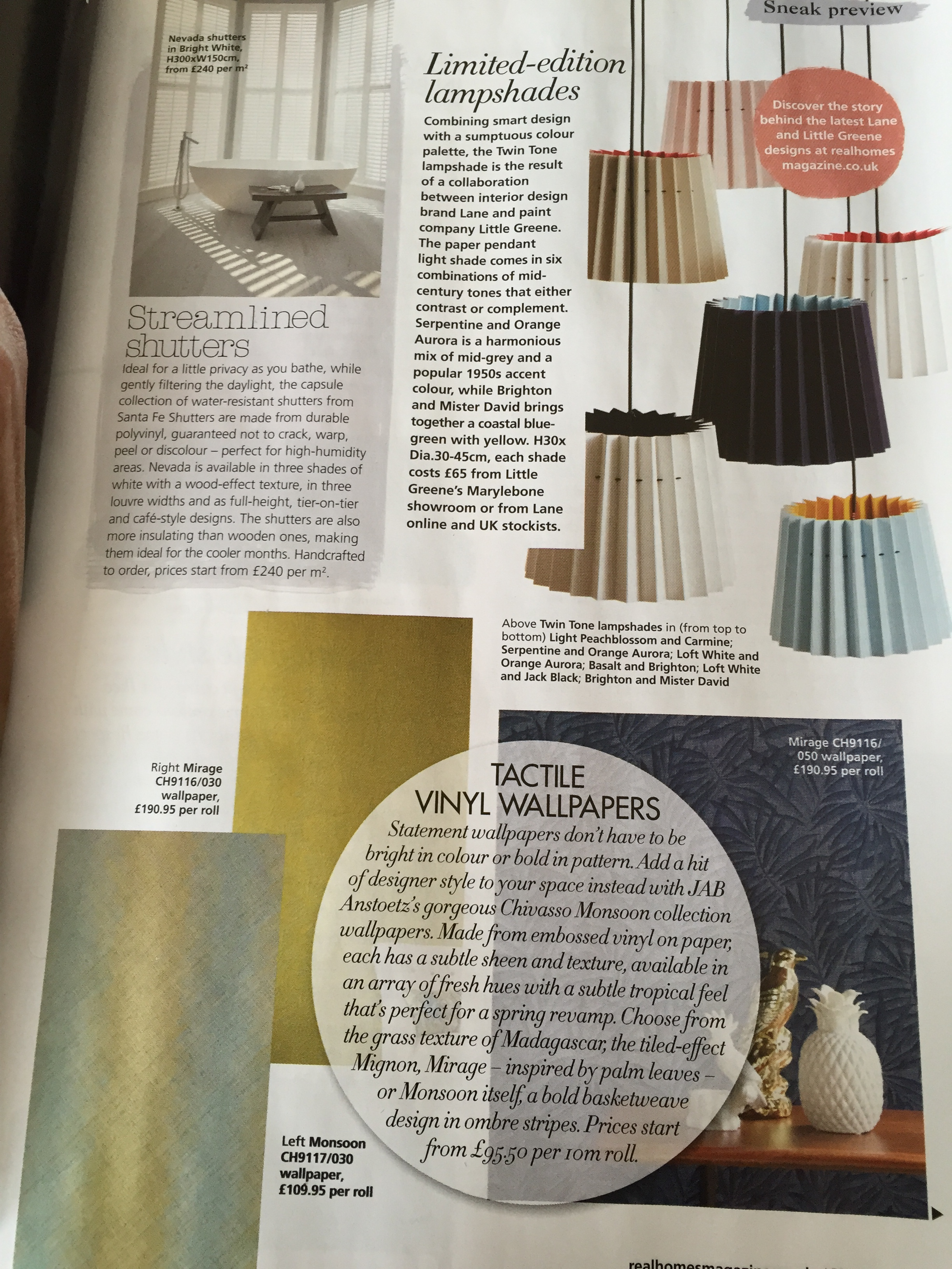 Real Homes, April 2015, Lane & Little Greene Twin Tone Lampshades