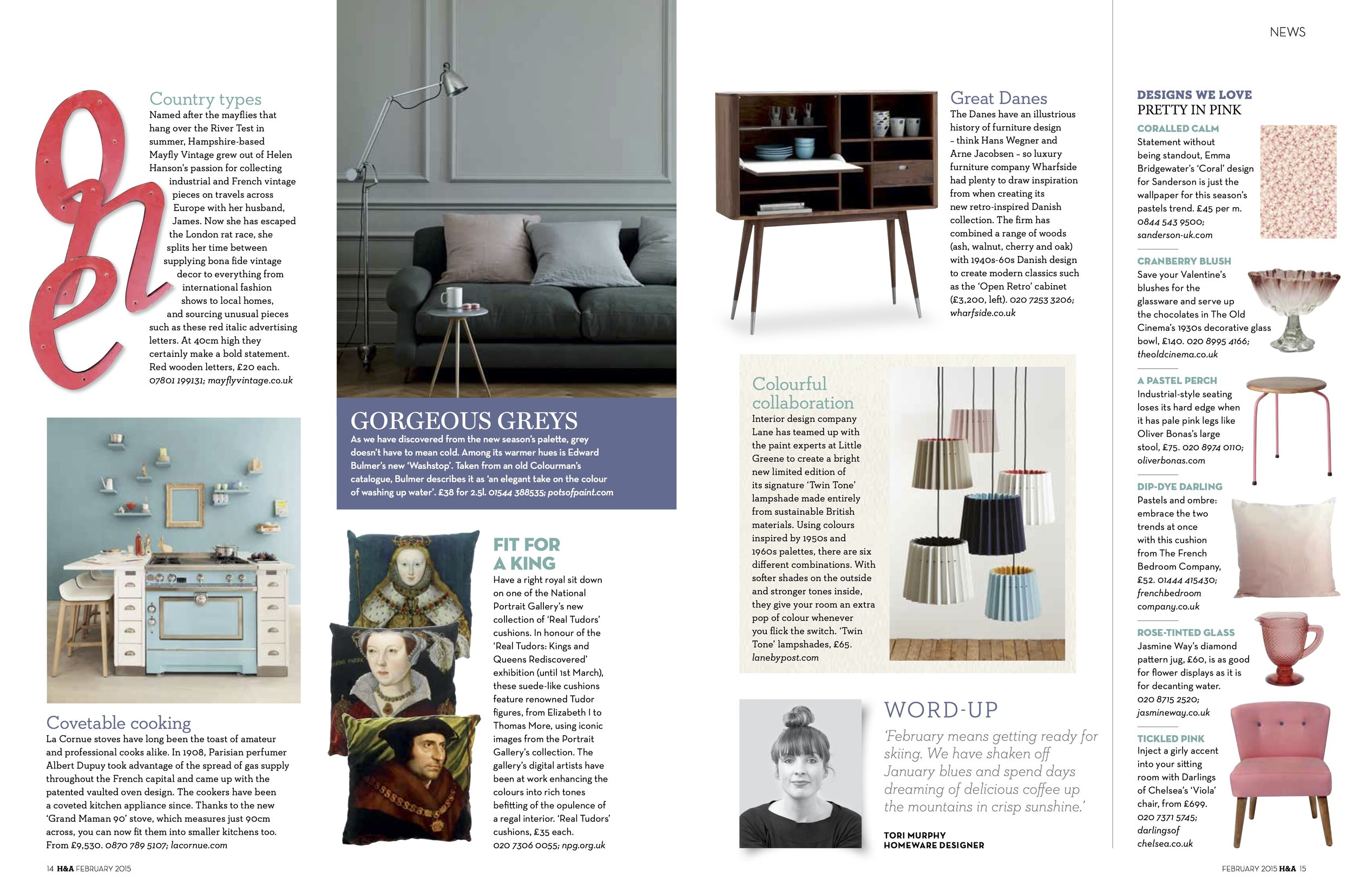 Homes & Antiques, March 2015, Lane & Little Greene Twin Tone Lampshades