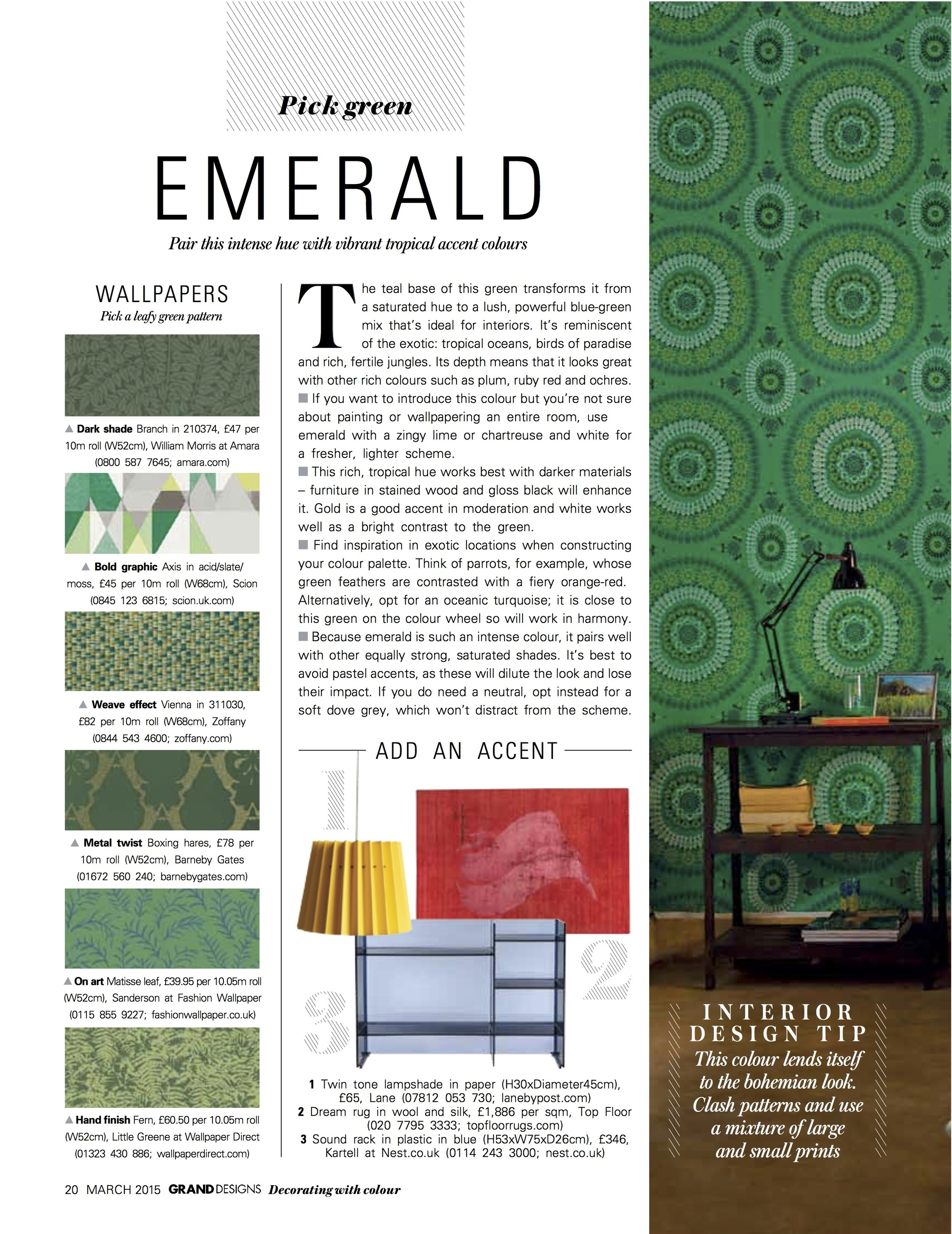 Grand Designs Magazine, March 2015,  Lane & Little Greene Twin Tone Lampshades