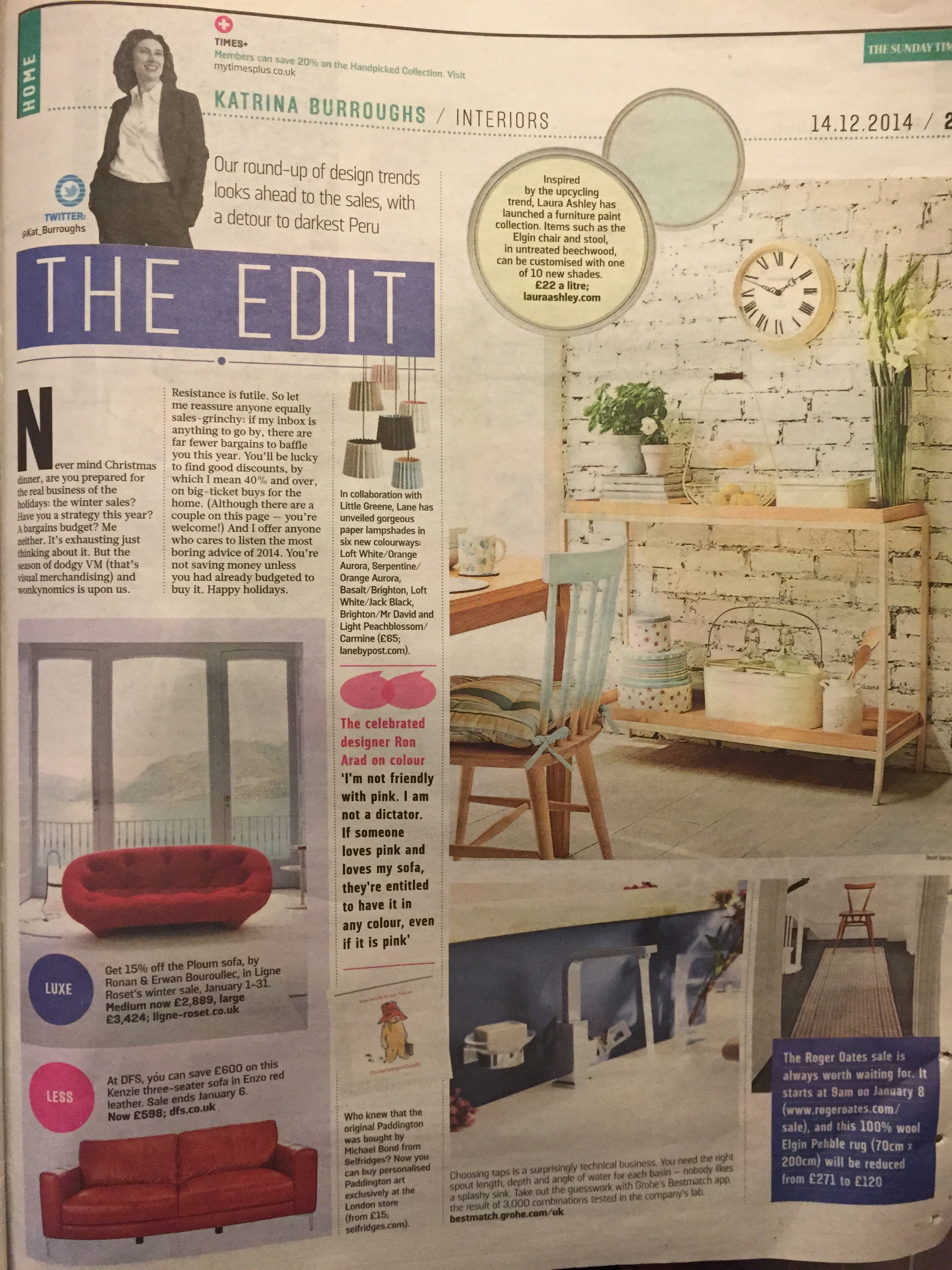 Sunday Times Home, December 2014,  Lane Twin Tone Lampshades