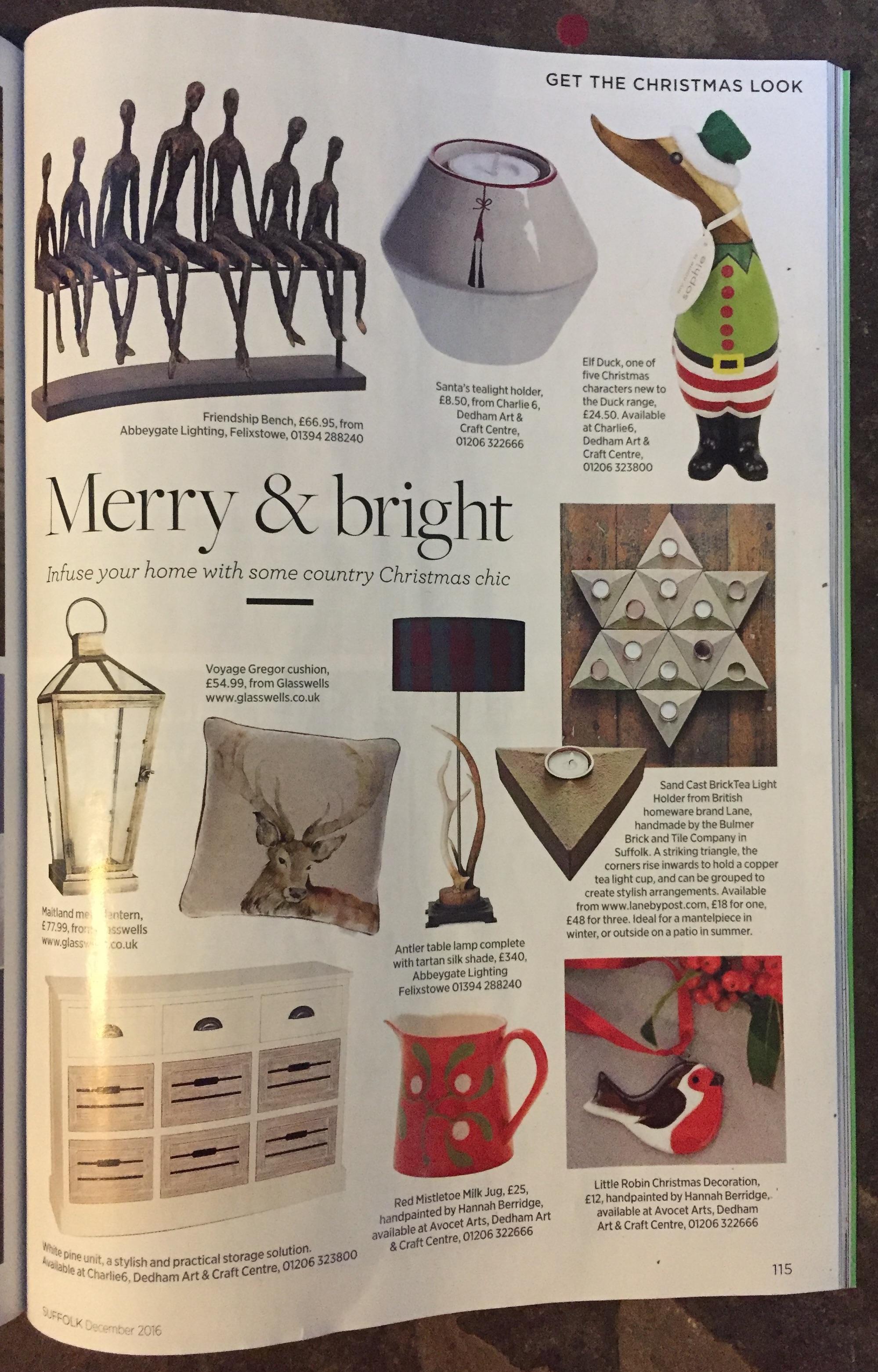 Suffolk Magazine, December 2016,  Lane Sand Cast Brick Tea Light Holder