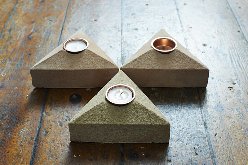 Lane Sand Cast Brick Tea Light Holders