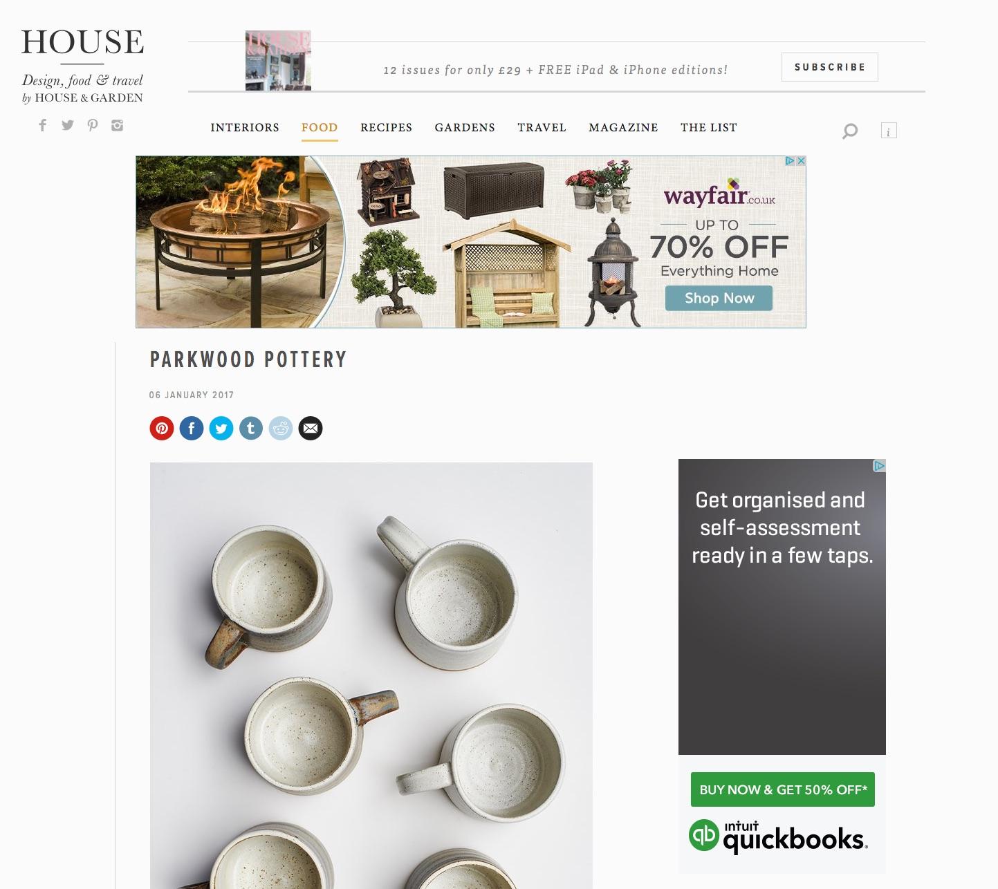 House , January 2017, Lane & Parkwood Pottery Stoneware Mugs