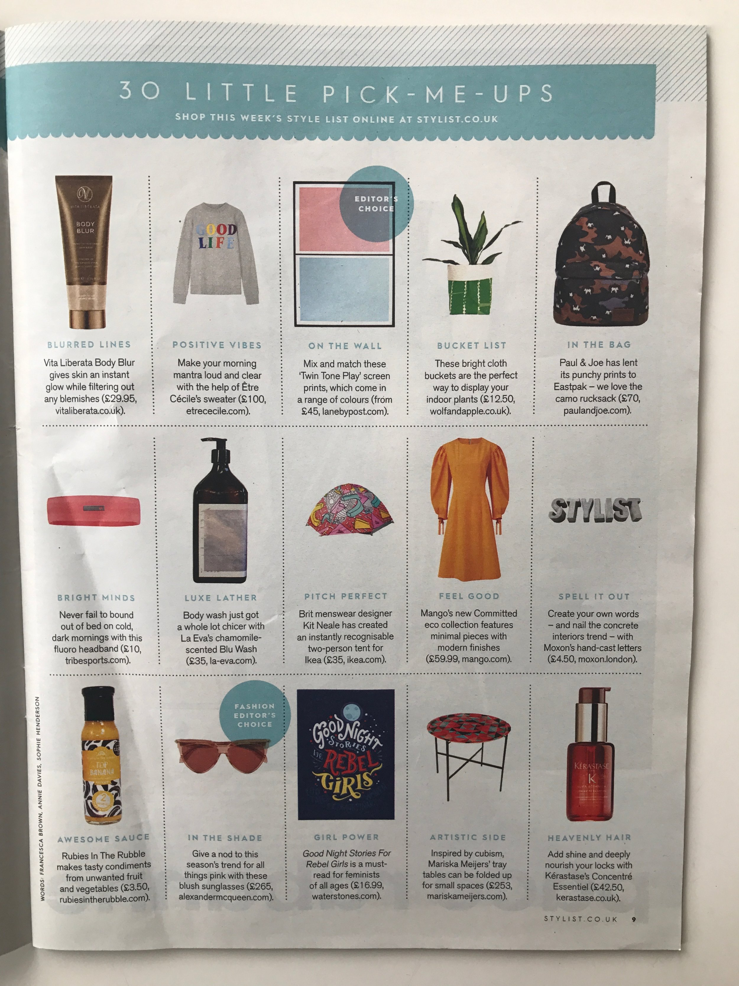 Stylist Magazine, 1st March 2017,  'Twin Tone Play' Hand Pulled Screen Print - Granite Pink & Drift Blue