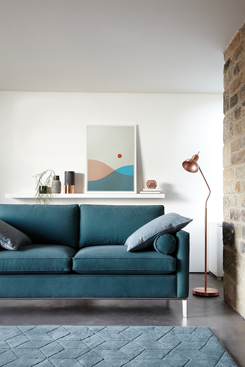 Duresta's  'Brooklyn Compact Sofa'  with Lane's  'From Land and Sea' screen print