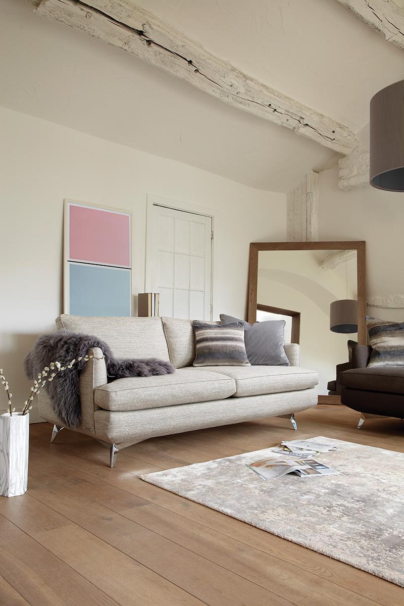 Duresta's  'Meridian Compact Sofa'  and Lane's  'Granite Pink & Drift Blue' Twin Tone Play Screen Print
