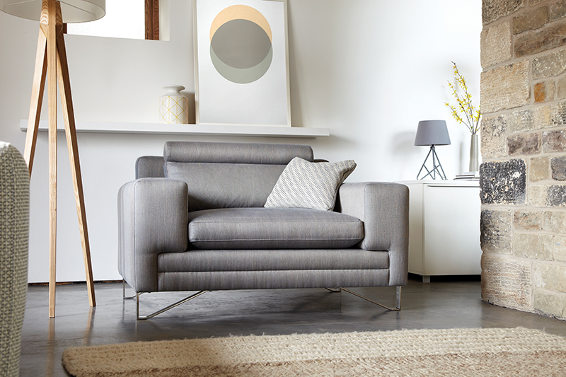 Duresta's  'Metropolitan Compact Sofa'  and our  'Circles - Gold & Grey' hand pulled screen print