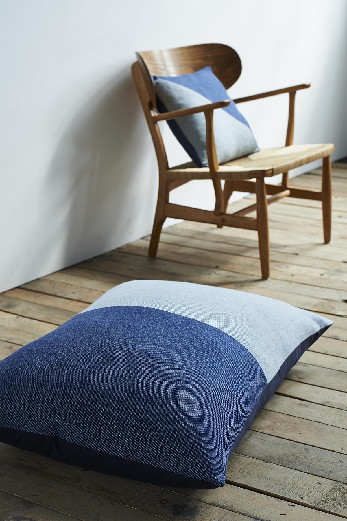 'Lane x London Cloth' Cotton Floor Cushion and Cotton Cushion - Triangle Context LR.jpg