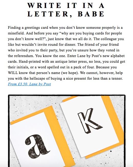Emerald Street, May 2017, Alphabet Letterpress Greetings Cards
