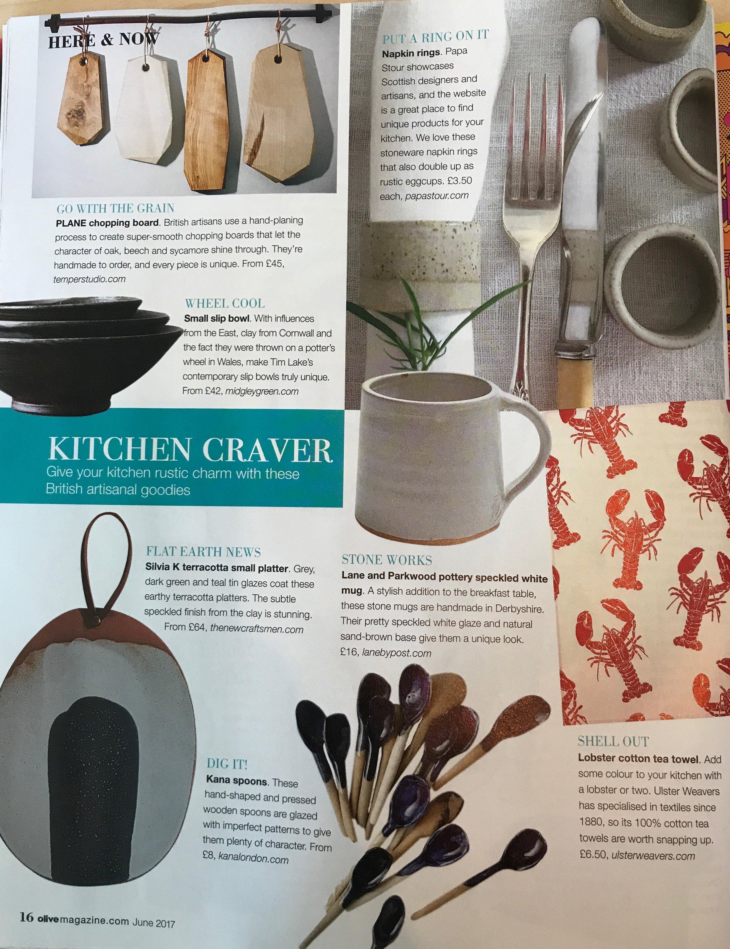 Olive Magazine, Speckled White Stoneware Mug, June 2017