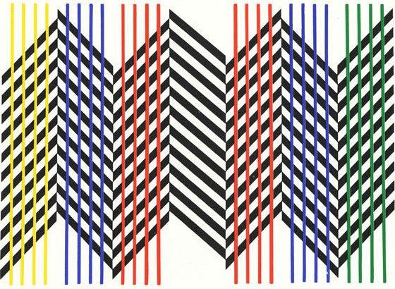 """Doble animación de un plano, Carlos Cruz-Diez.Caracas, Venezuela,1959.85 x 122 cm (33 15/32 x 48 1/32""""). Cruz-Diez Foundation, Museum of Fine Arts, Houston, USA ."""