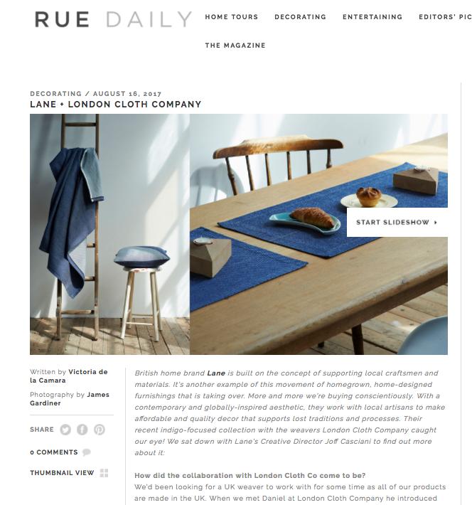 Rue Magazine , Lane x London Cloth Collection, August 2017