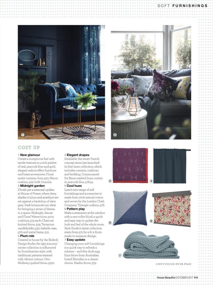 House Beautiful, Indigo Cotton Cushion, October 2017