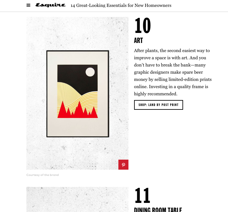 Esquire, Over Mountains Sky Screen Print, October 2017