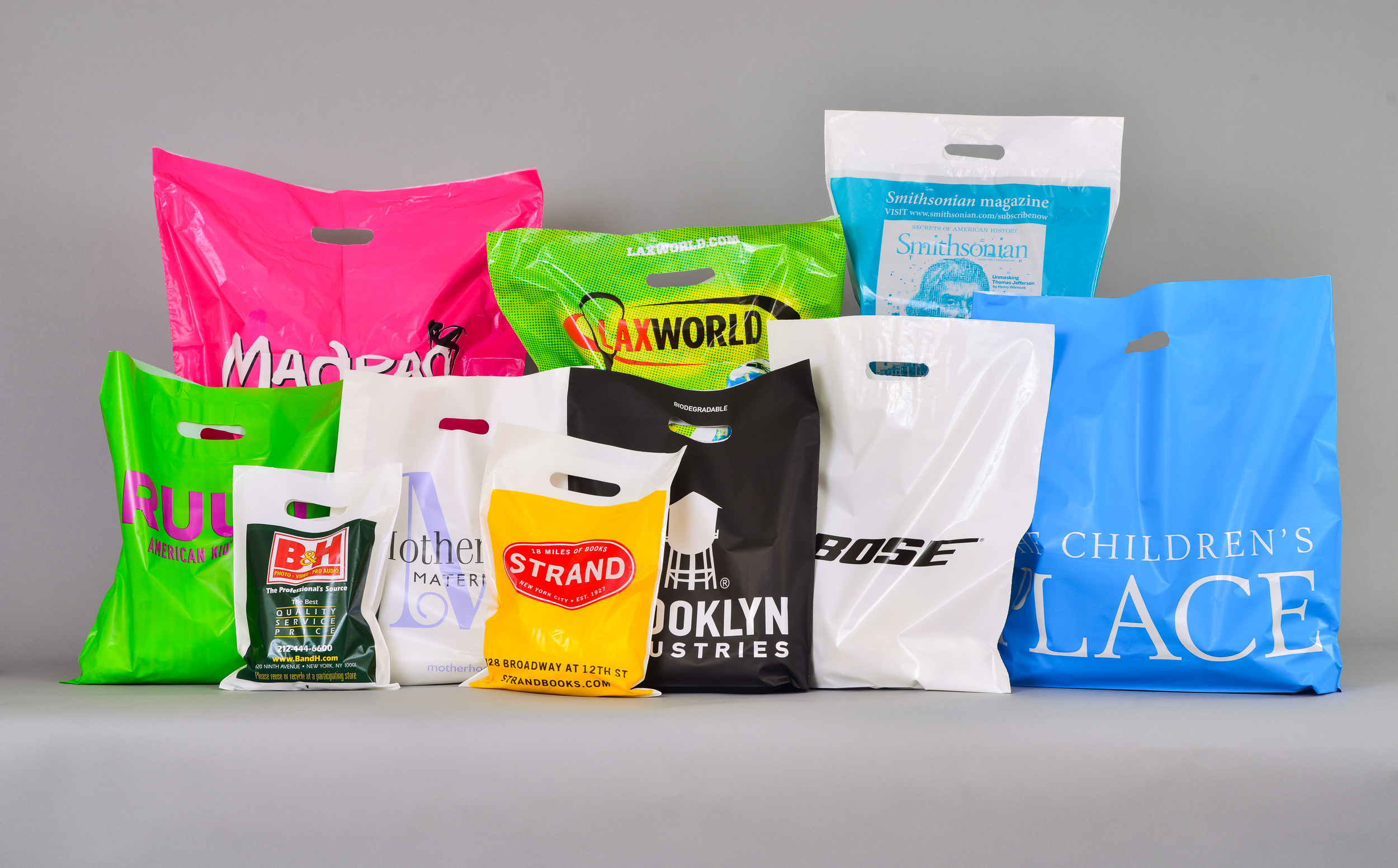 Plastic shopping bags for retail locations.  CPI packaging offers a variety of sizes and handle options to customizable to your needs.