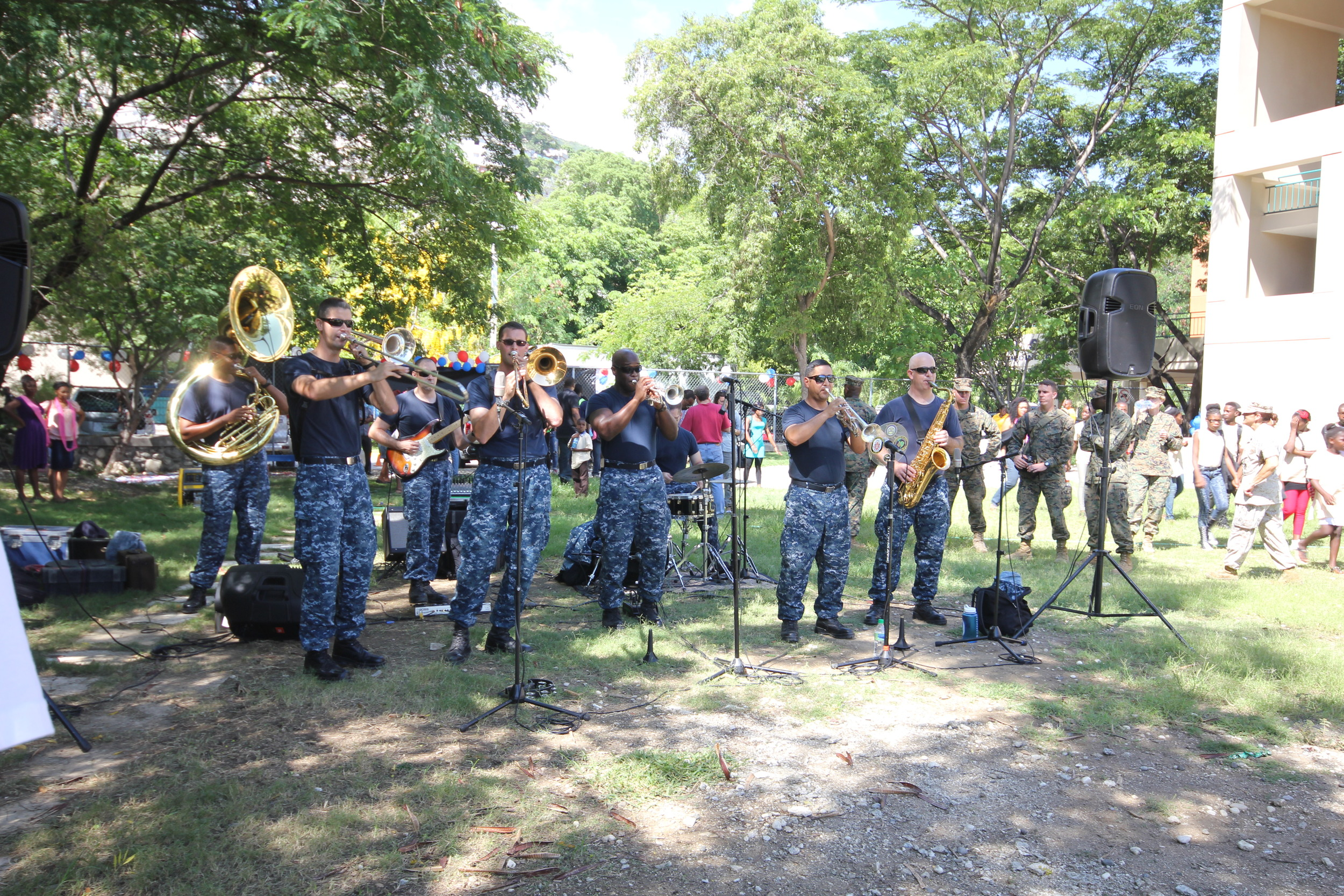 The US Navy band performed jazz and hip hop hits.     (Photo credit: Jacqueline Ofriel)