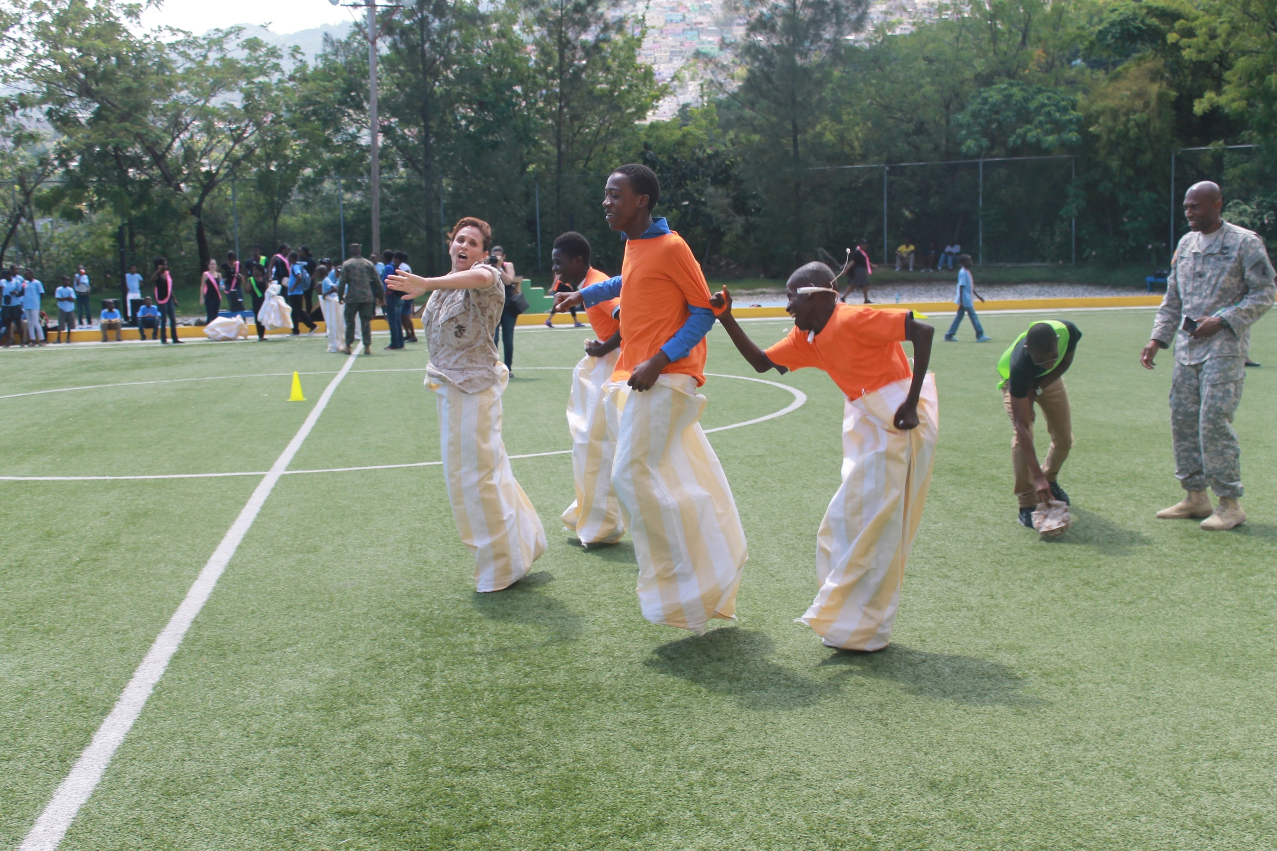Potato sack race with member of the US Navy.     (Photo credit: Max Edward Hollant)