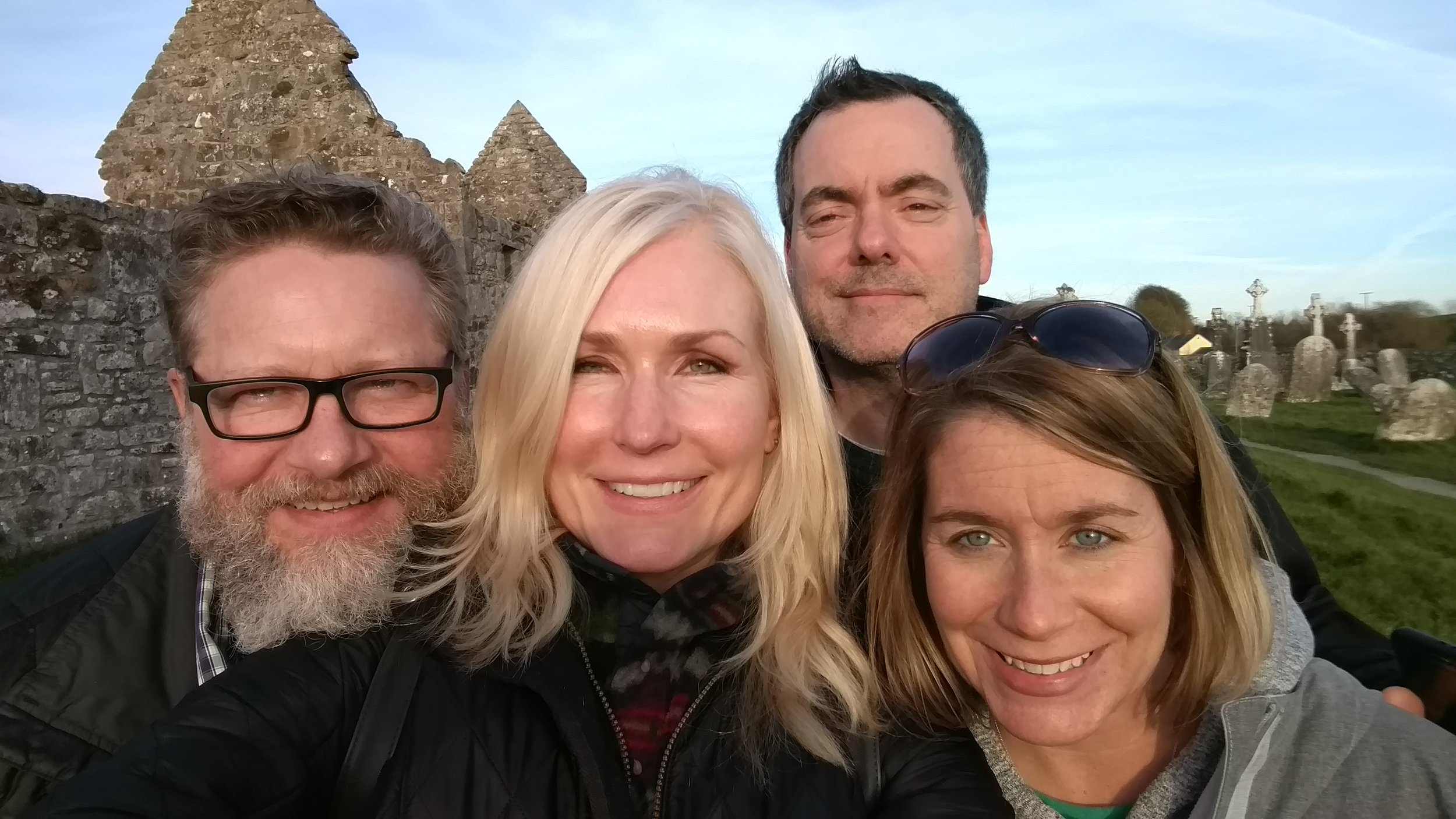 Smiling into the setting sun, Clonmacnoise