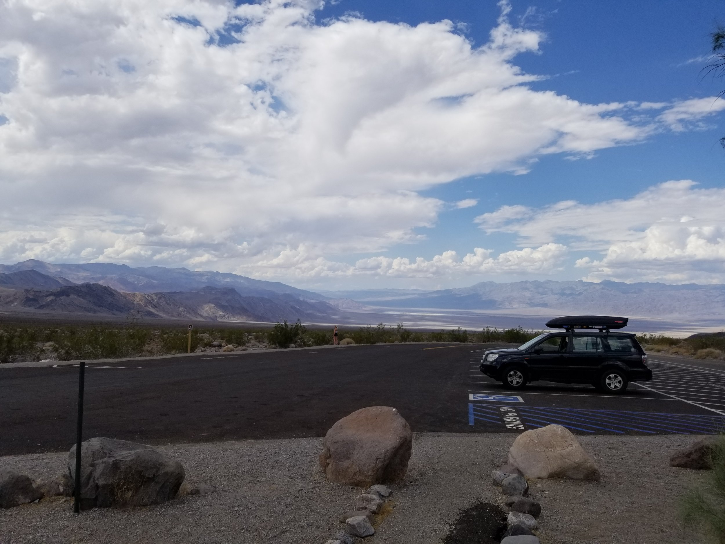 There's our little family-mobile in Death Valley.