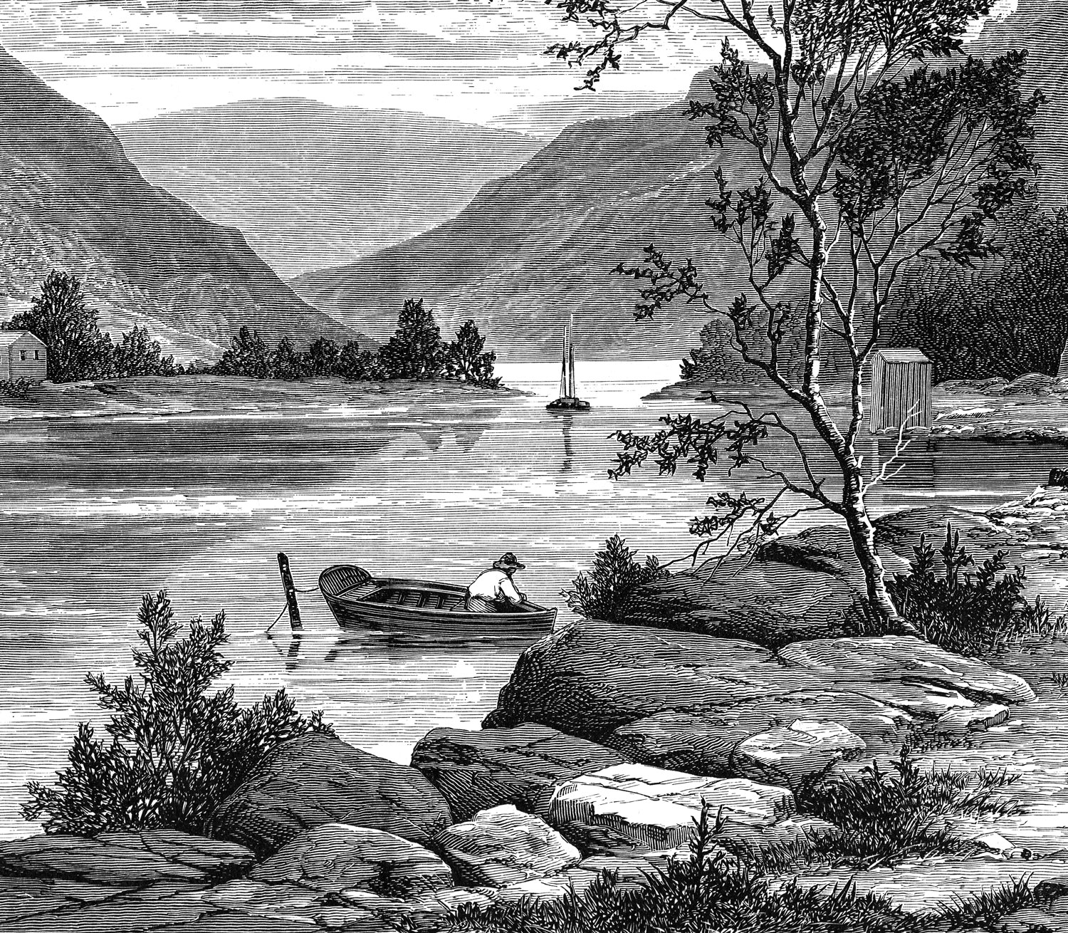 """RAMAPO RIVER   Taken from the book,  Picturesque Views of America  (1873), this engraving shows a view of the Ramapo River near the New York-New Jersey border. This area has a rich history and is where Revolutionary War patriots smuggled munitions from the Highland forges down the mountain range on top-secret trails called """"cannonball runs."""" Those familiar with the area may recognize how similar the landscape looks today — a verdant jewel on Bergen County's western border.  Look for the Ramapo on pendants, ornaments, and plates (more coming soon!)."""