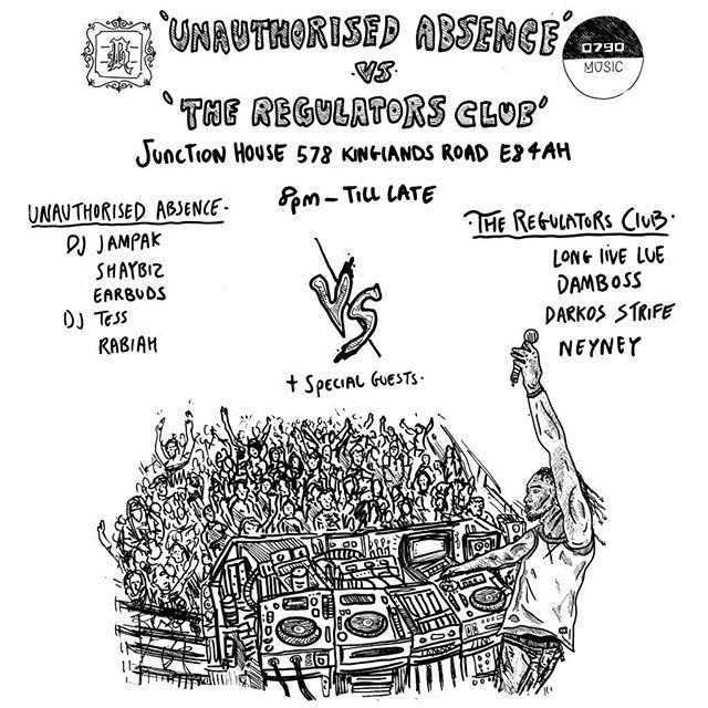 📅 | JUNE 28TH! CALLIN IN SICK DJS TO @JUNCTIONHOUSEE8  @0790music :UNAUTHORISED ABSENCE MEETS @theregulatorsclub  TICKETS VIA @resident_advisor  ARTWORK BY @rebelyuth  #music #rap #grime #garage #livenight #djs #events