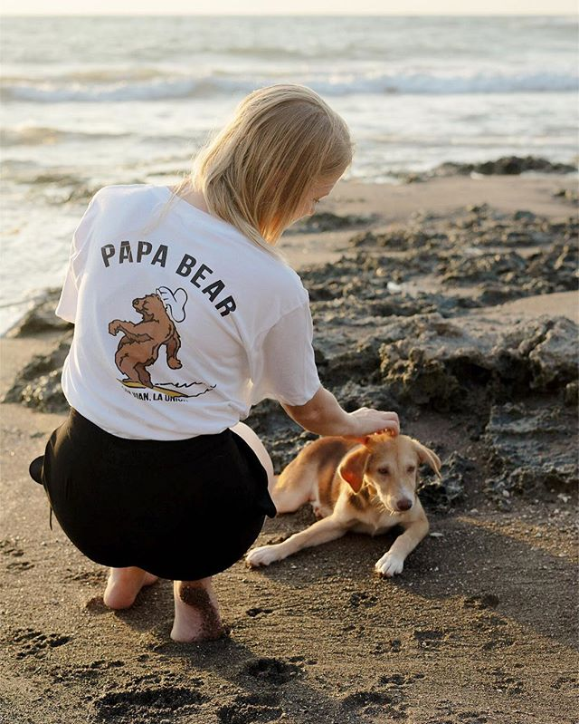 Featuring the only dog on the beach that didn't reject my love... 😉🙄 @abeautifulrefuge printed these sweet tees for local biz @papabearph, who make the best damn vegan pho in the PH (@jordynasaunders had it three times in 1.5 days 😂)! Forever grateful for local brands that care about fair wages and good ethics and quality materials... when we first started ABR most of our business was big overseas export orders, now it's almost entirely orders within the Philippines!