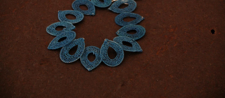 woven indigo dyed silk thread