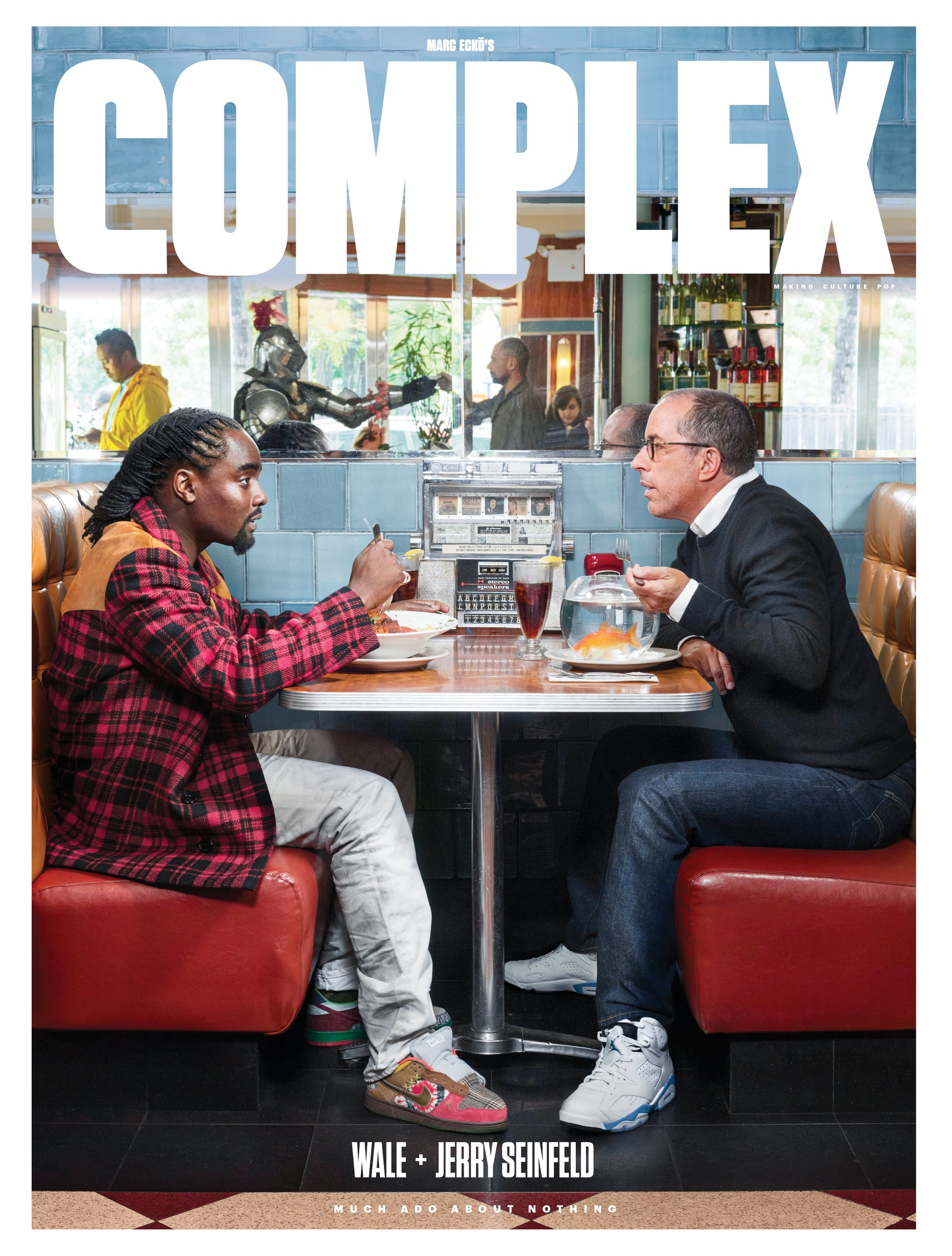 In Complex Magazines December 2014/January 2015 Cover Story, Wale and Jerry Seinfeld a wide array of subjects including sneakers.  Wale can be seen here wearing the Nike SB classic, the What the Dunks while Jerry can be seen rocking a pair of Air Jordan Sport Blue 6's gifted to him by Wale.