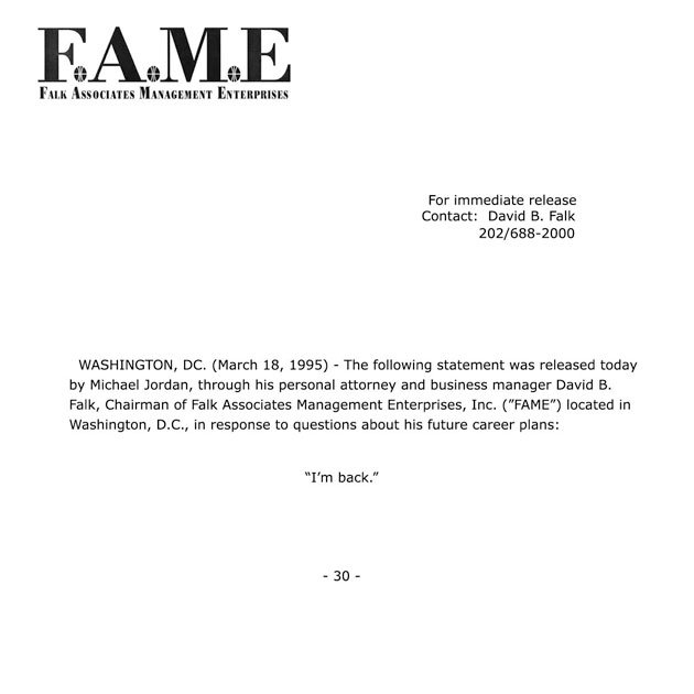The Classic Fax released by Michael Jordan's Lawyer that officially announced his return to the NBA back in 1995.