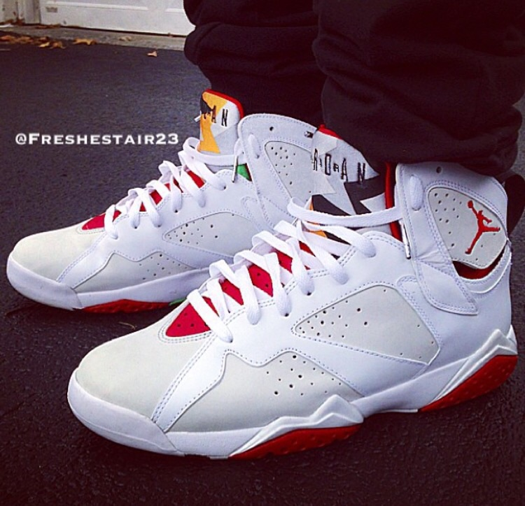 """An on foot look at the 2008 Countdown Pack version of the Air Jordan 7 """"Hare""""."""