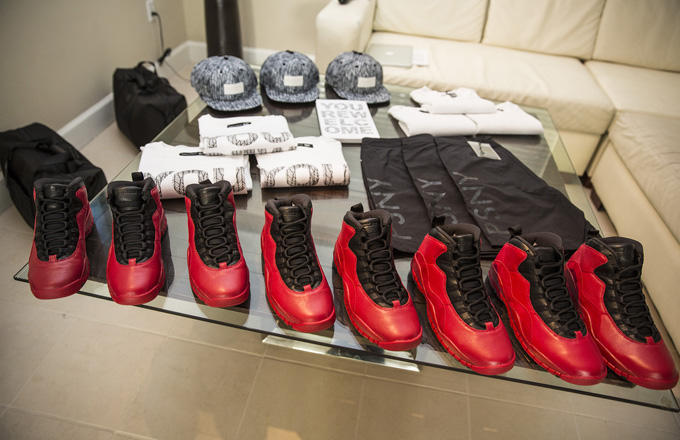 """A preview of the Public School NYC """"Tropic City GiftPack"""", which features a PSNY tee shirt, bathing suit, bag, and limited edition Friends and Family edition Public School NYC Air Jordan 10's"""