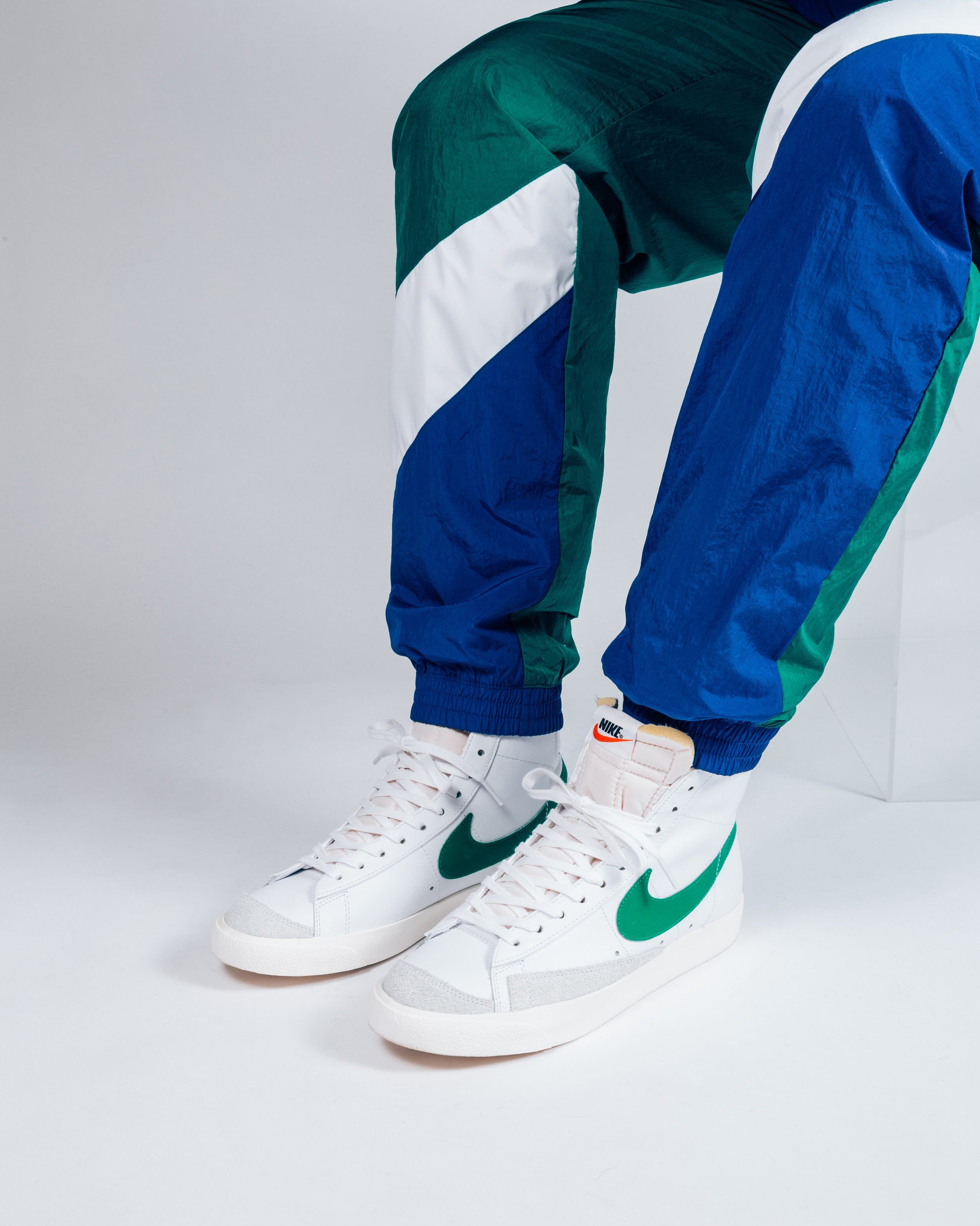 """The Nike Sportswear Blazer Mid VNTG in """"Lucid Green"""" paired with a re-issued Vintage Nike Sportswear Track Pant(Matching Jacket available too)."""