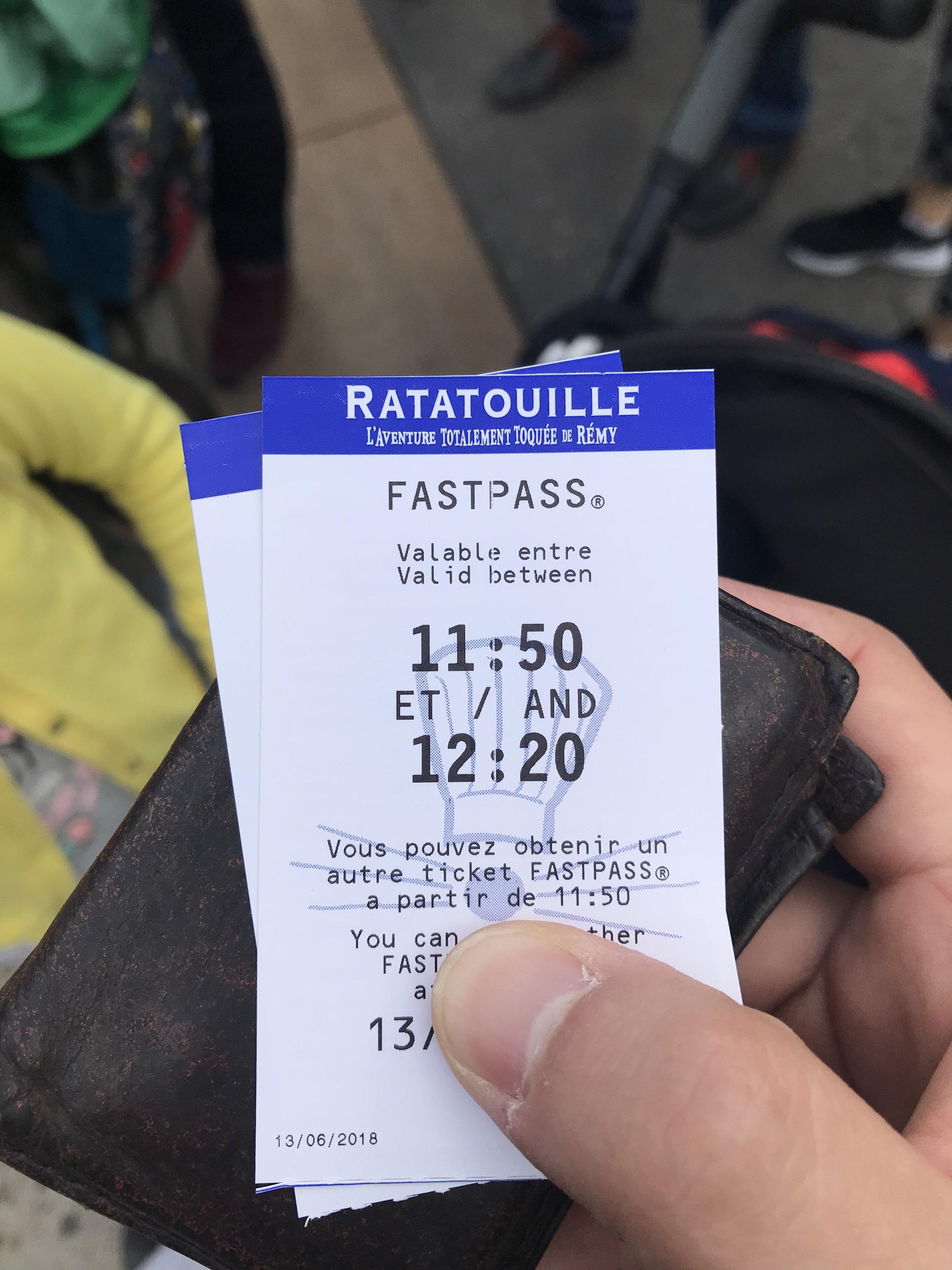 Ejemplo de ticket  FastPass