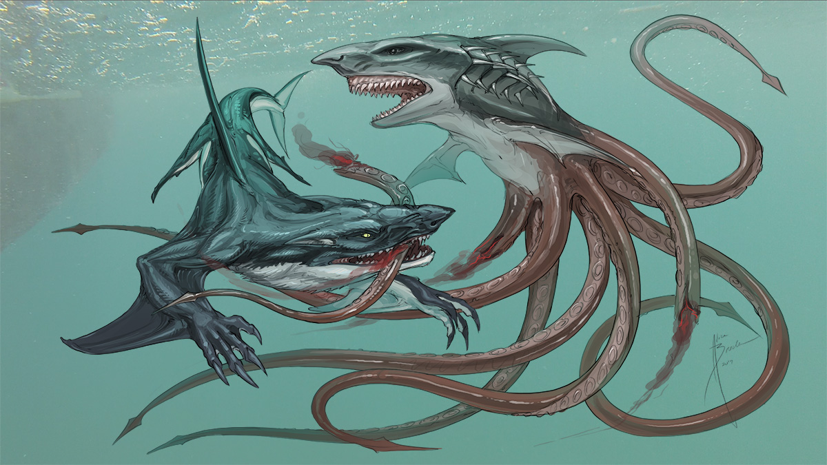 Underwater action shot of the Whalewolf fighting SYFY's Sharktopus monster.