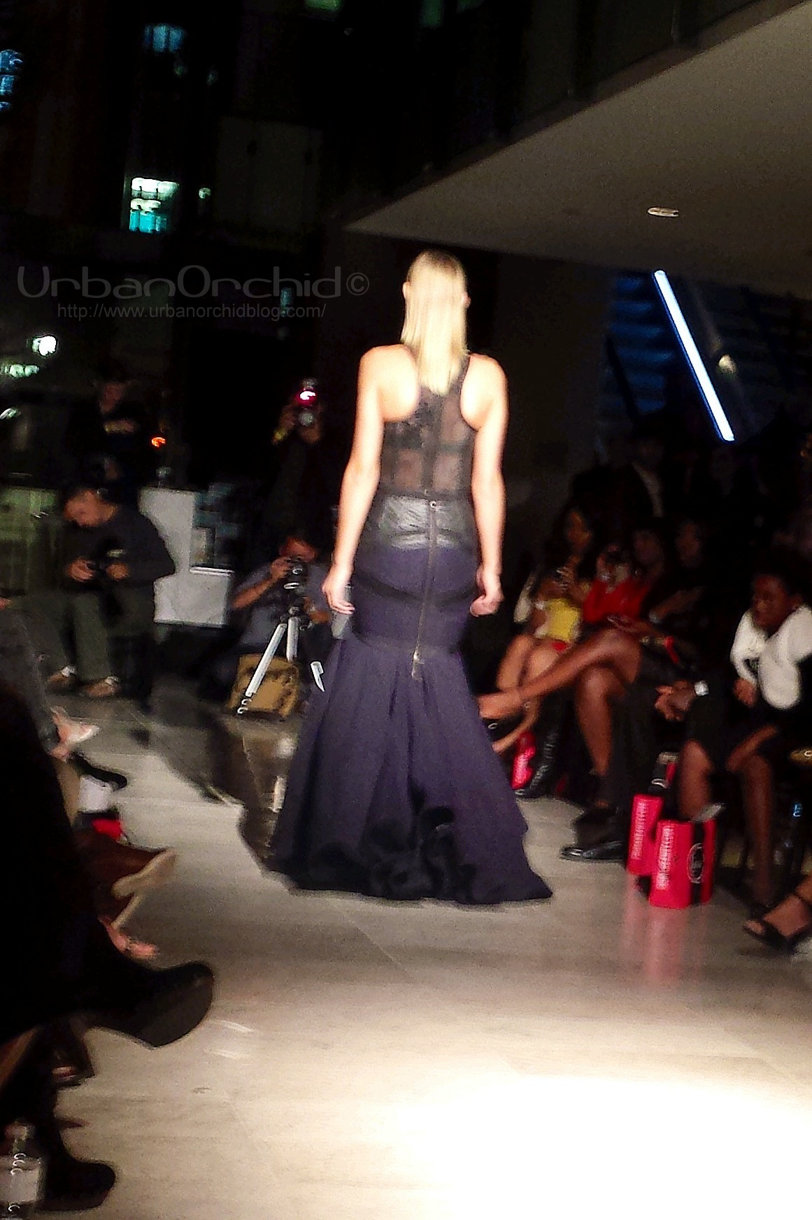 Deep blue and black and leather and mesh at Emily Trevor.