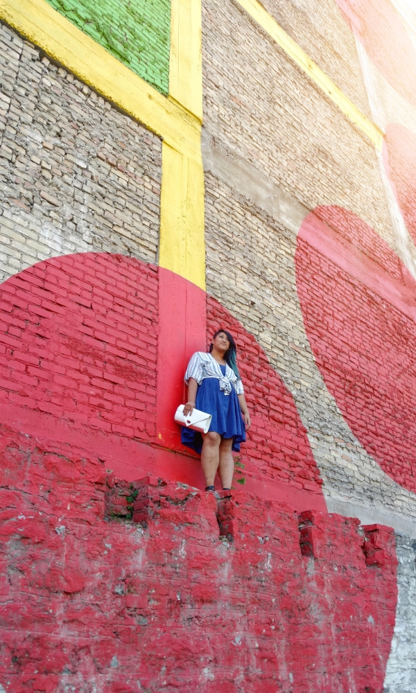 Reppin' Chicago hard even in Minnesota. Dress by Lara Miller, tie-front top by Akira, power clutch by Borris Powell.