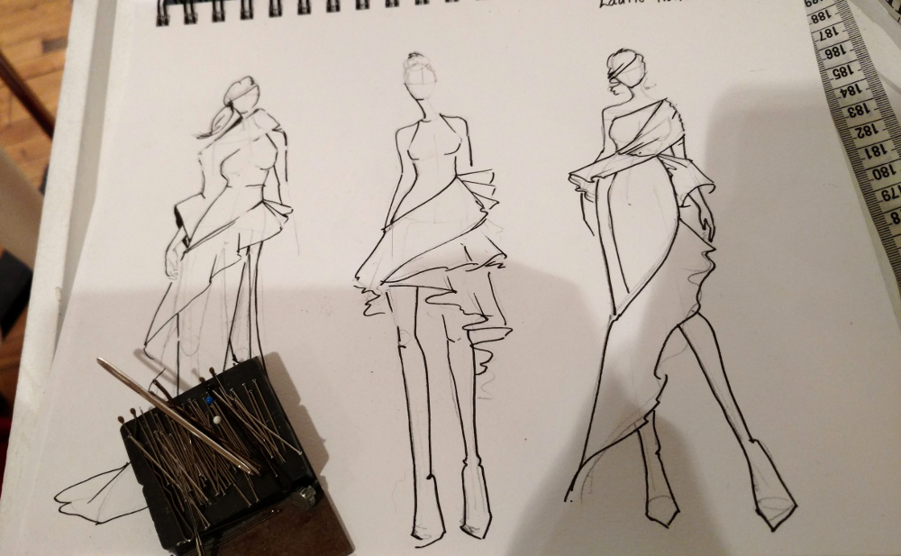 Fashion sketch by Tessa Louise.