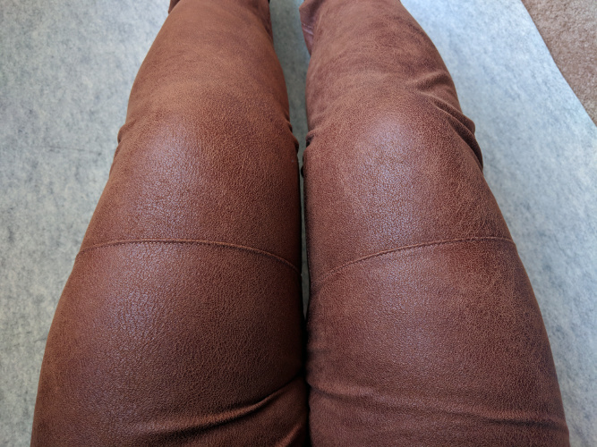 Leather-look pants