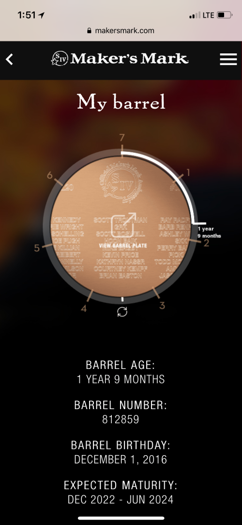 Partner's barrel still early in the aging process