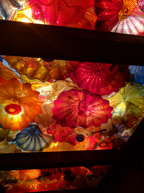 Dale Chihuly glass lights en route to the gift shop from the tasting room.