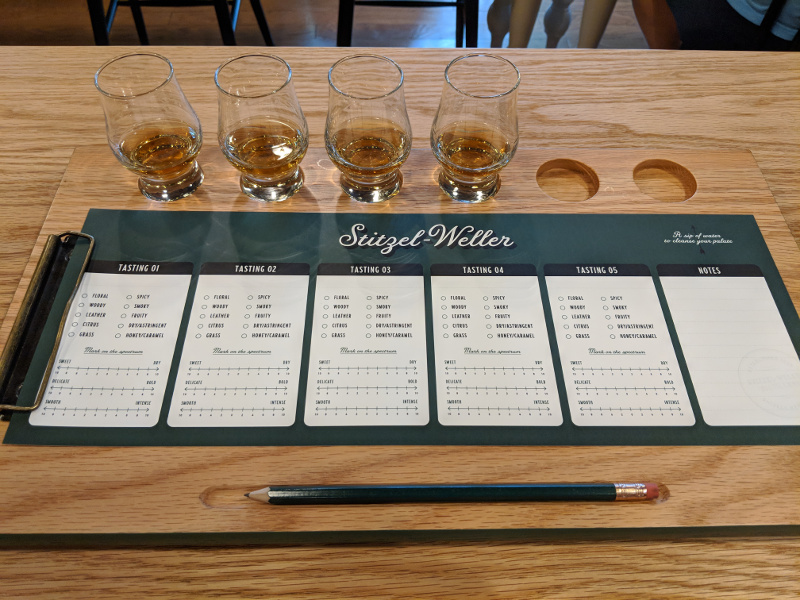 Tasting selection at Bulleit