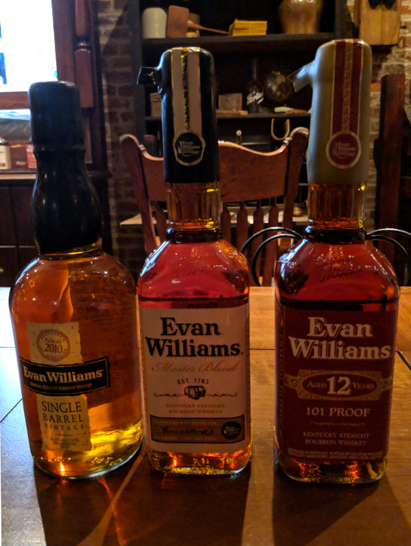 Tasting offerings at Evan Williams