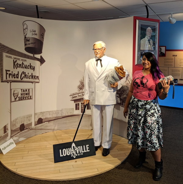 Posing by the KFC/Colonel Sanders info stop at the Visitor Center.