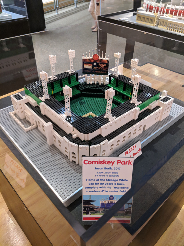 Toy brick model of Comiskey Park…which was US Cellular Field when I was in college…and is now Guaranteed Rate Field. Fun fact: I went to school right across from this baseball field and could sometimes see (and definitely hear) the fireworks from a Sox win!