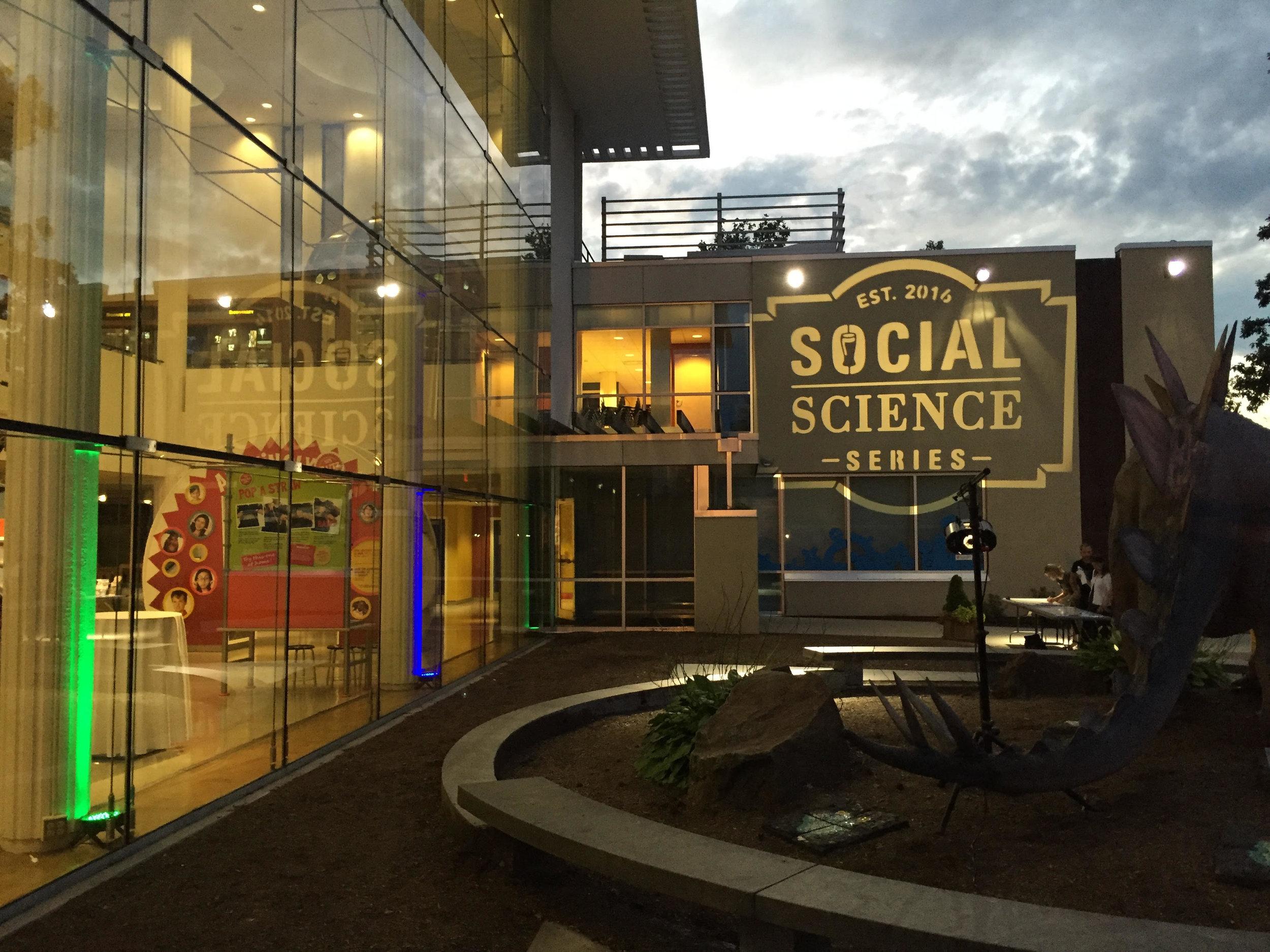 Corporate Event / providing sound, lighting, & custom monogram for Social Science Series at the  Ecotarium