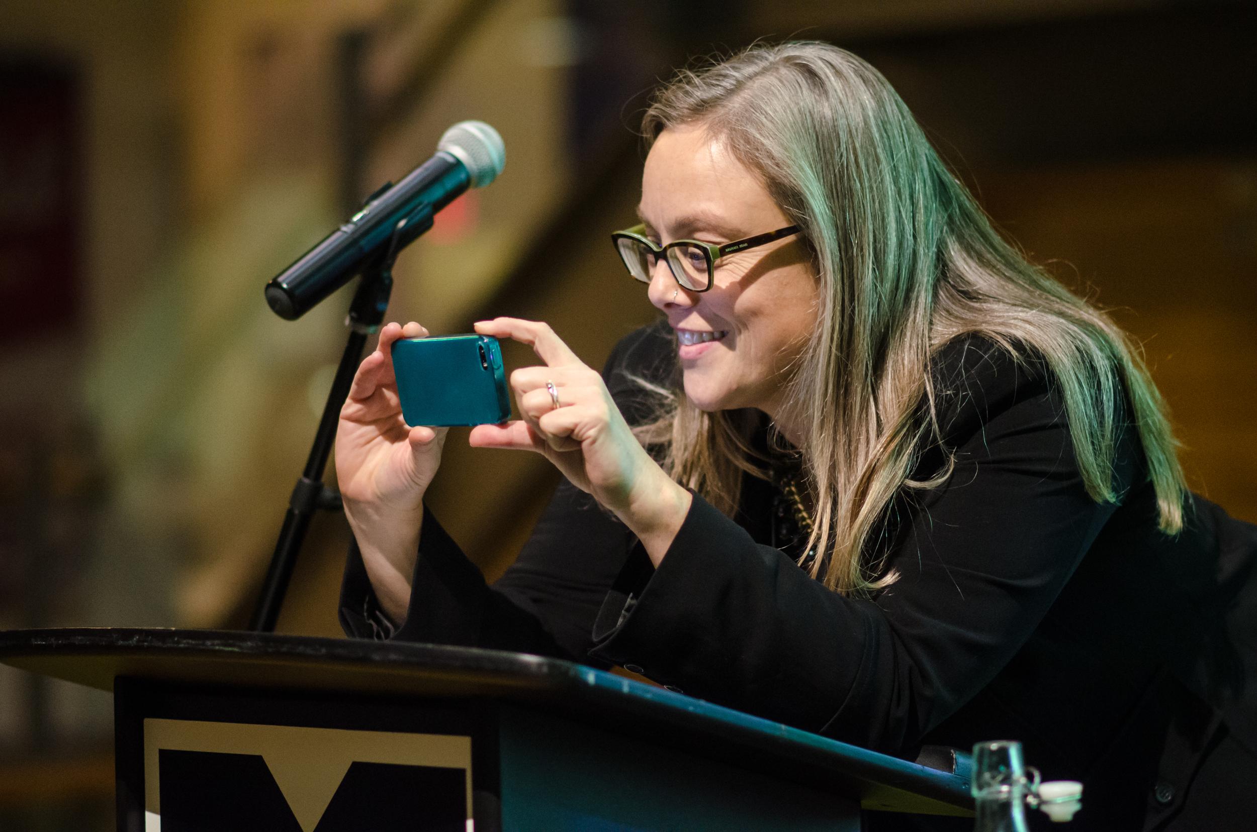 Sustainable Waterloo Region Executive Director  Tova Davidson captures the crowd.