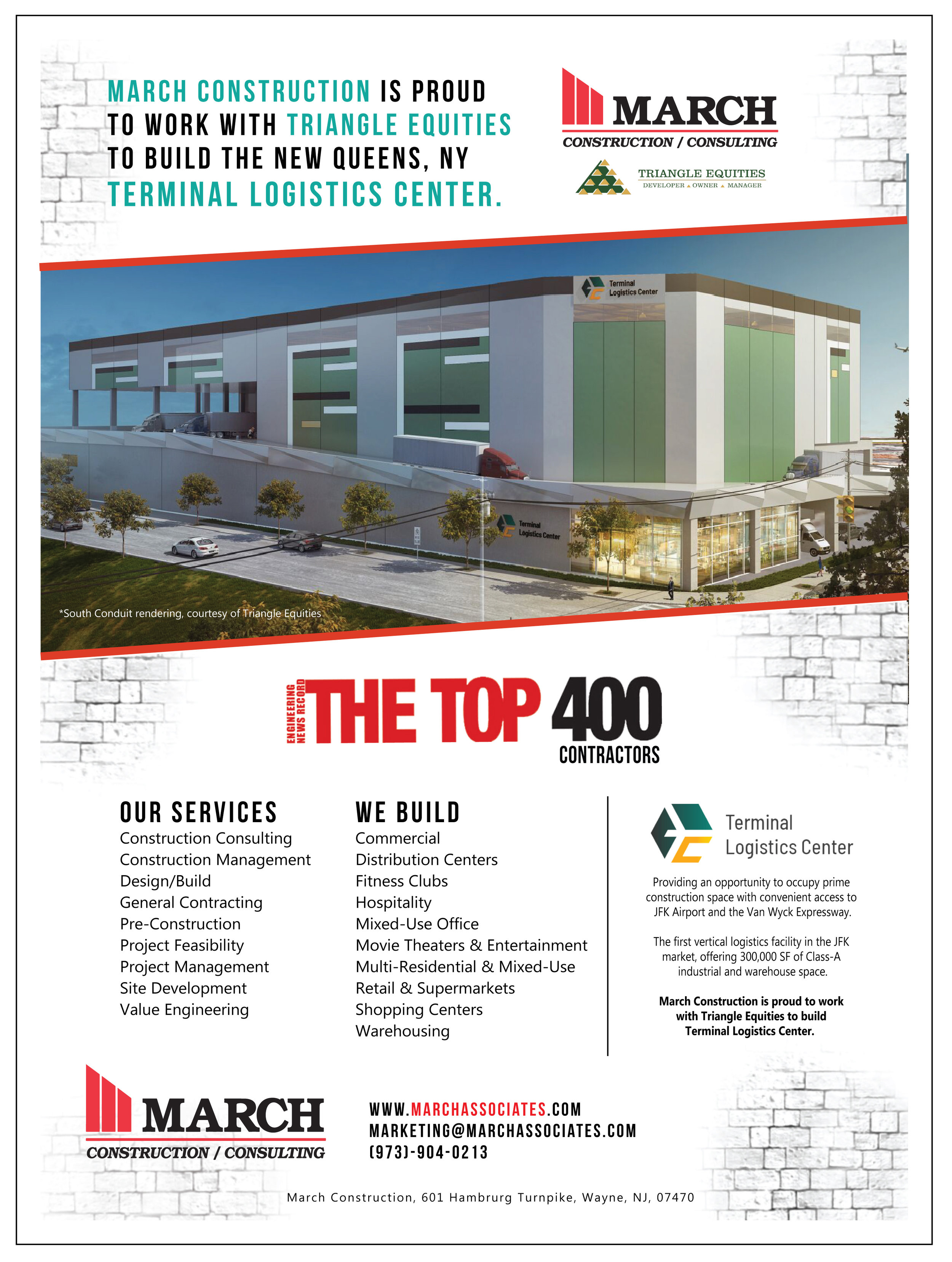March Construction is proud to work with Triangle Equities to build  Terminal Logistics Center.  March Construction--offering construction consulting, construction management, design/build, owner's representative services,  and more...  partners with Triangle Equities to build  Terminal Logistics Center in Brooklyn, NY.