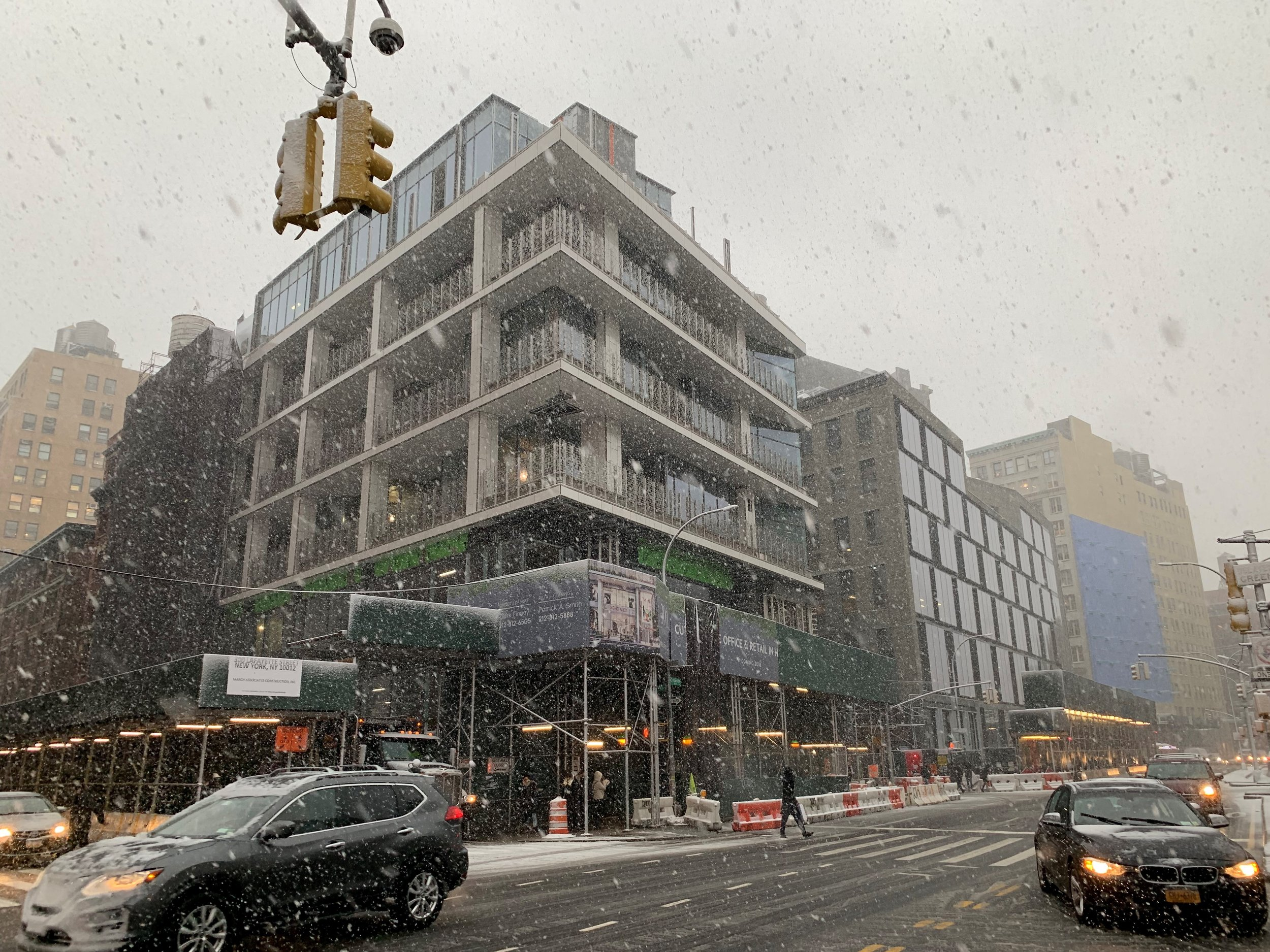 Snowing on our 300 Lafayette Street Project in Soho! March Construction NYC Office Buildings.