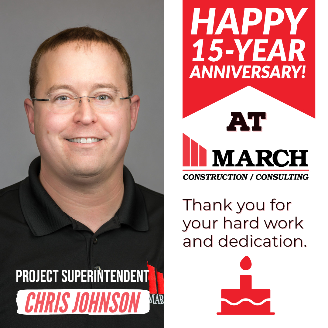 Happy 15-Year Work Anniversary Chris Johnson! - March Construction