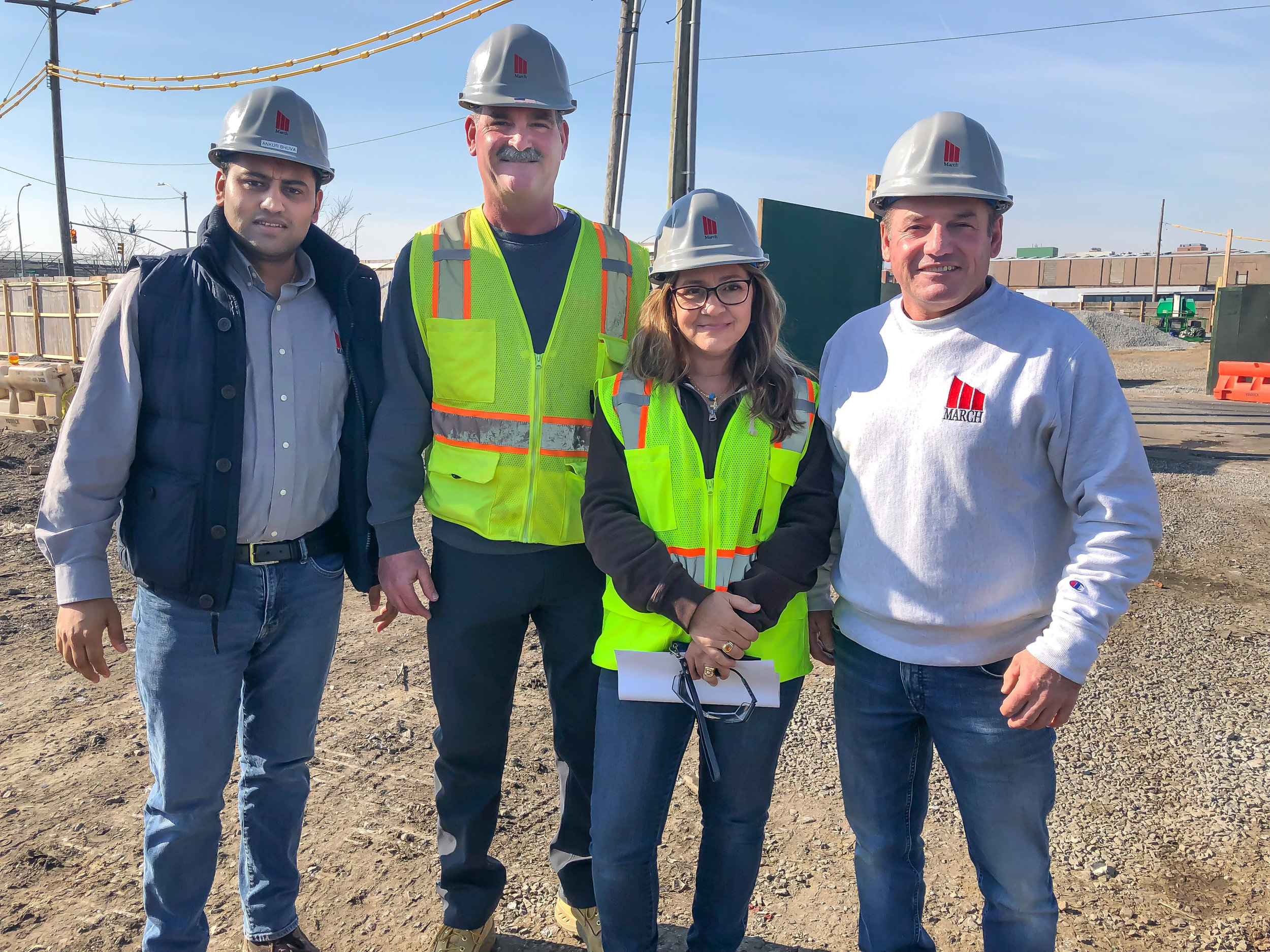 Team Photo at Brooklyn Logistics Center Safety Meeting! Ankur Bhuva, Frank Brady, Leila Stephan, Ben Turano